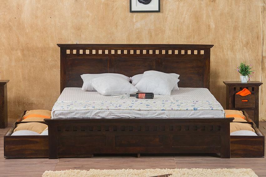 Solid Wood Kuber Bed with Drawer Trolley Storage