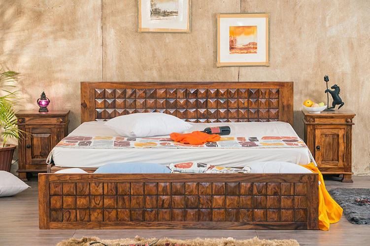 Solid Wood Bowley Bed with Storage