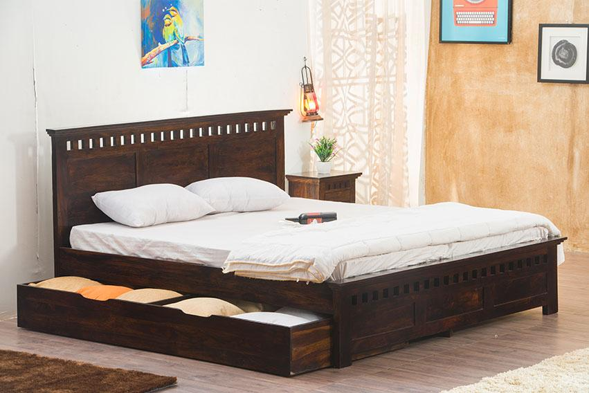 Buy Solid Wood Kuber Bed With Drawer Trolley Storage