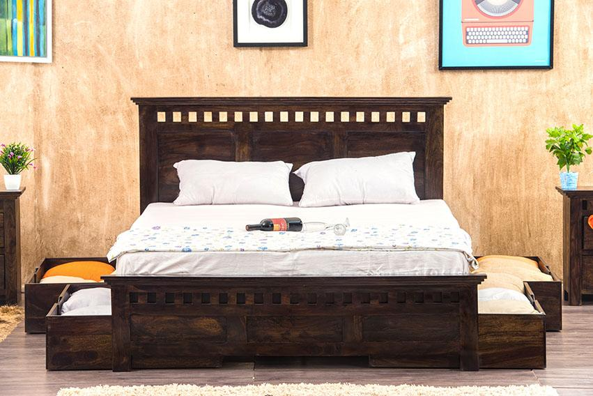 Solid Wood Kuber Bed with Drawer Trolley Storages