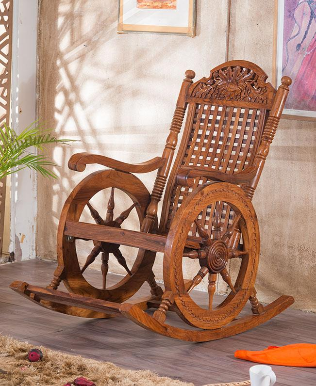 Solid Wood Retro Wheel Rocking Sofa Chair