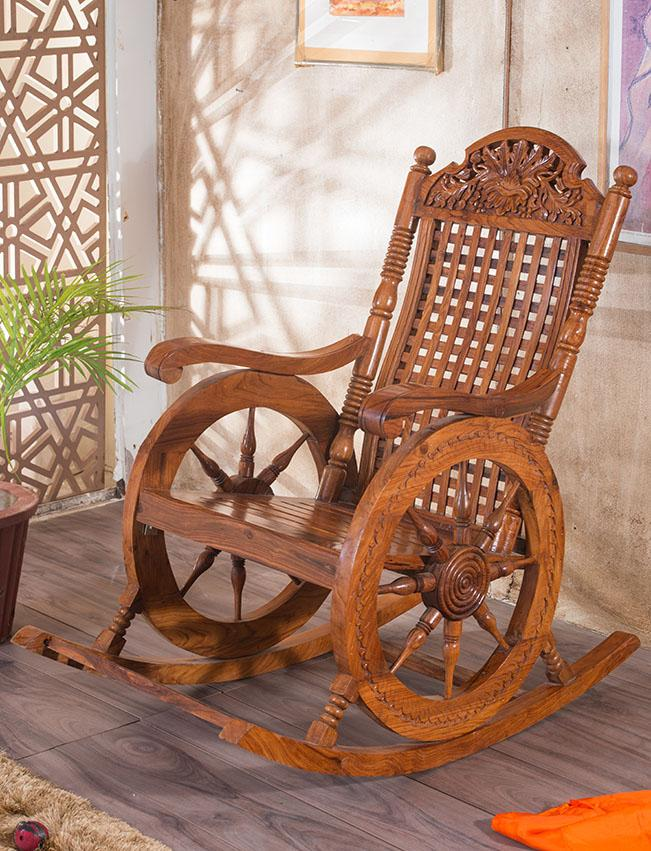 Buy Solid Wood Retro Wheel Rocking Sofa Chair Online In