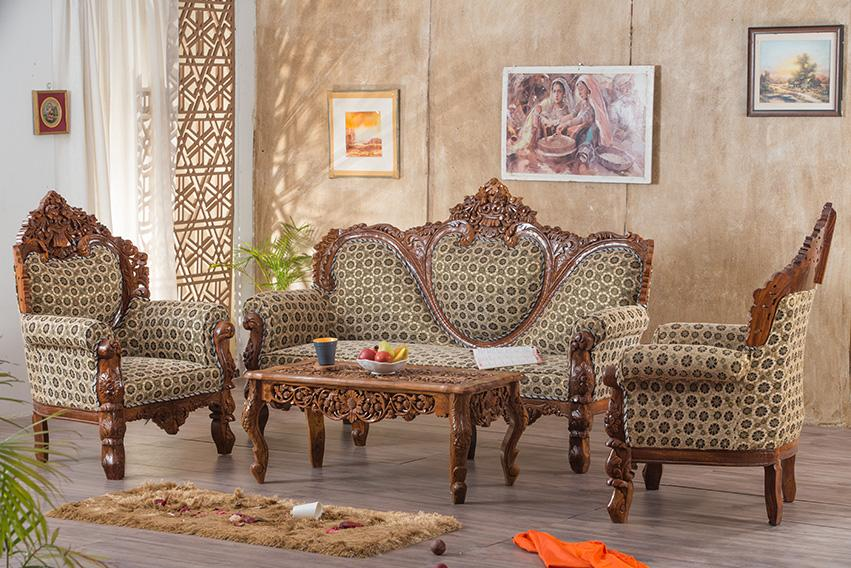 Buy Solid Wood Czar Carved Sofa Set Online In India