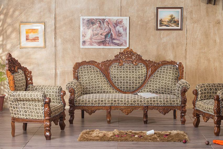 Solid Wood Czar Carved Sofa set