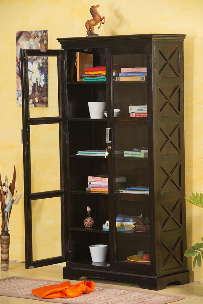 Buy Solid Wood Bookcase With Glass Doors Online New