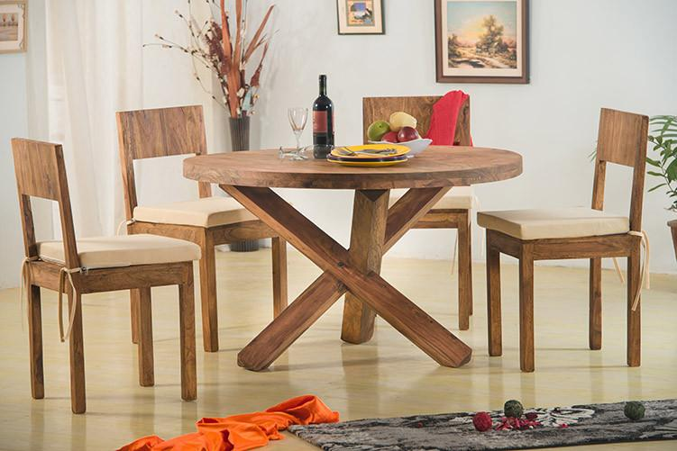 Solid Wood Capital Round Dining Set