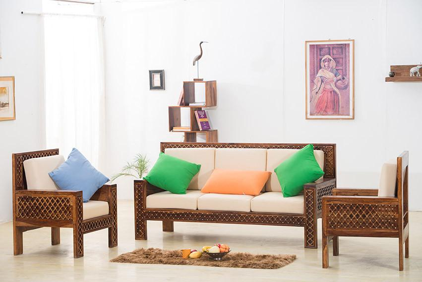Buy Solid Wood Brass Royal Sofa Set B Online In India