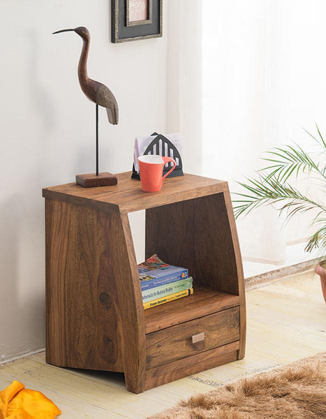 Solid Wood Slant Bedside with Drawer