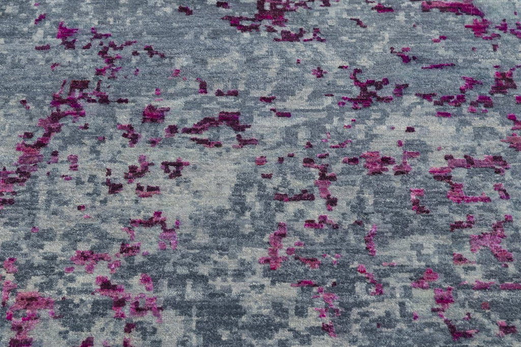Luxury - Grove Blue Pink Pure Silk & Wool Hand Knotted Premium Carpet