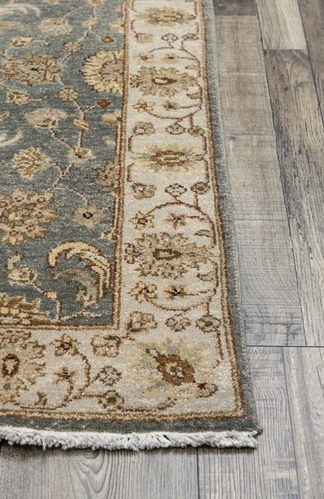 Luxury - Vanadey Sea Blue Ivory New Neland Wool Hand Knotted Premium Carpet