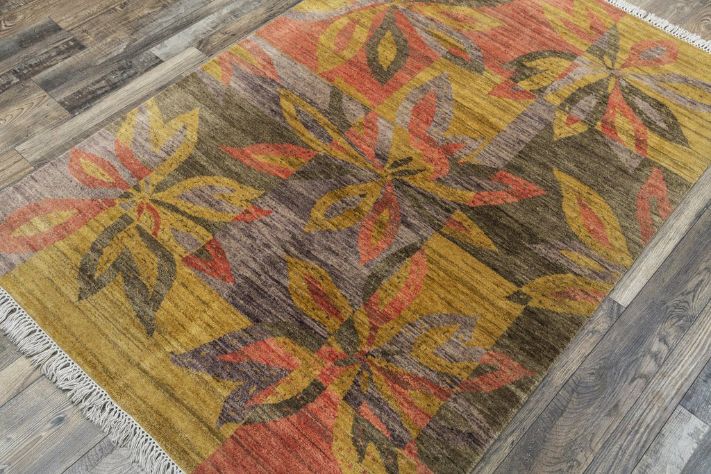 Luxury - Rize Mustard Fucia New Neland Wool Hand Knotted Premium Carpet