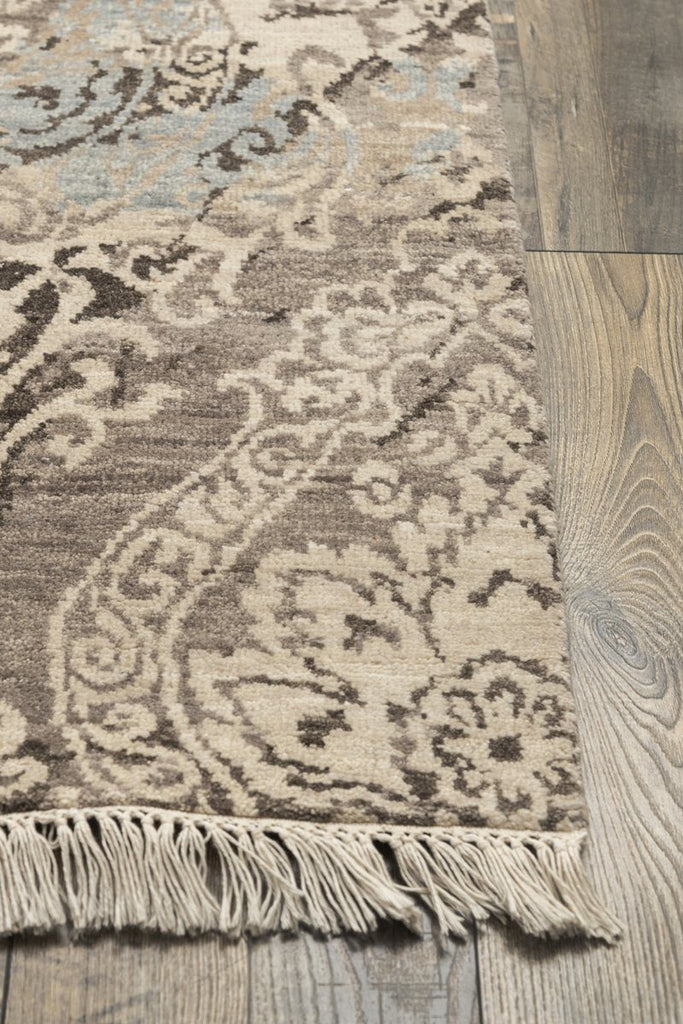 Luxury - Almira Beige Brown Pure Silk & Wool Hand Knotted Premium Carpet