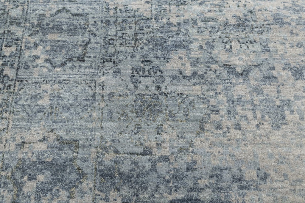 Luxury - Delmara Grey Blue New Neland Wool Hand Knotted Premium Carpet