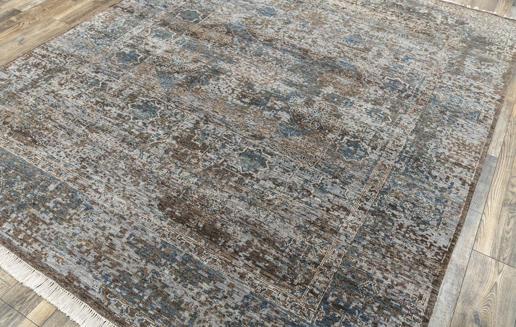 Luxury - Finlay  ST Grey Blue New Zealand Wool Hand Knotted Premium Carpet