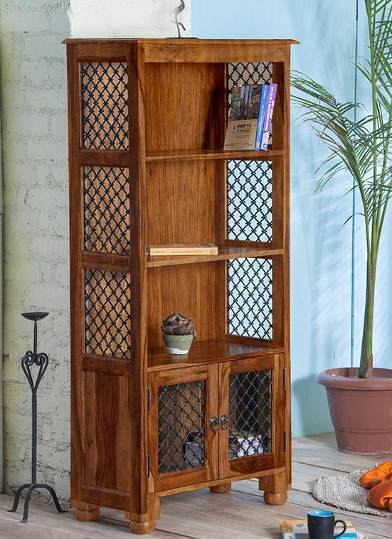 Solid Wood Jali Bookshelf