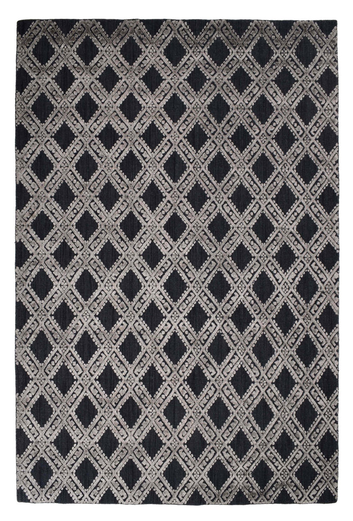 Stilo-Charcoal Wool & Wool Viscose Mix Handloom Jacquard Carpet 7.5 x 5