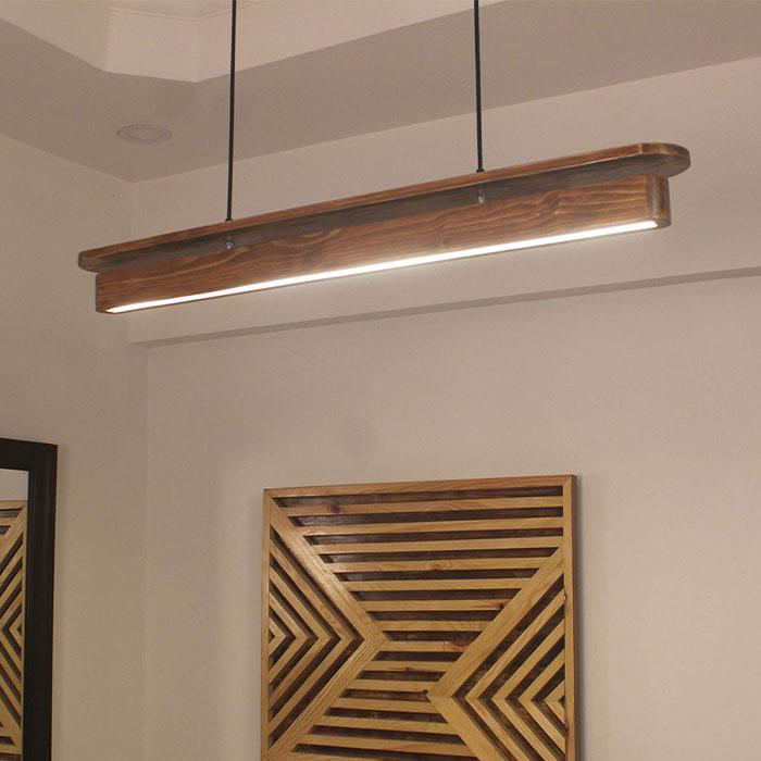Solid Wood Art Deco 36 Led Hanging Lamp With Brown Base