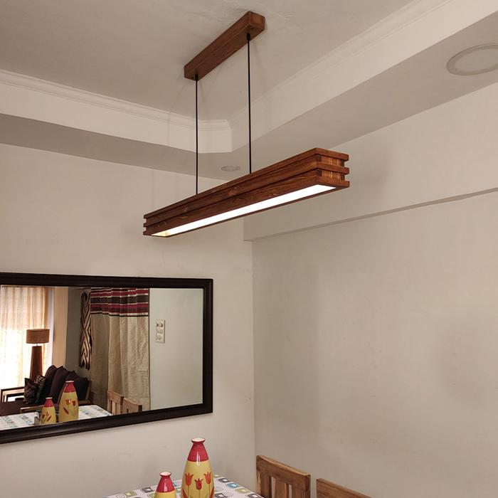 Solid Wood Artline 48 Led Hanging Lamp With Brown Base