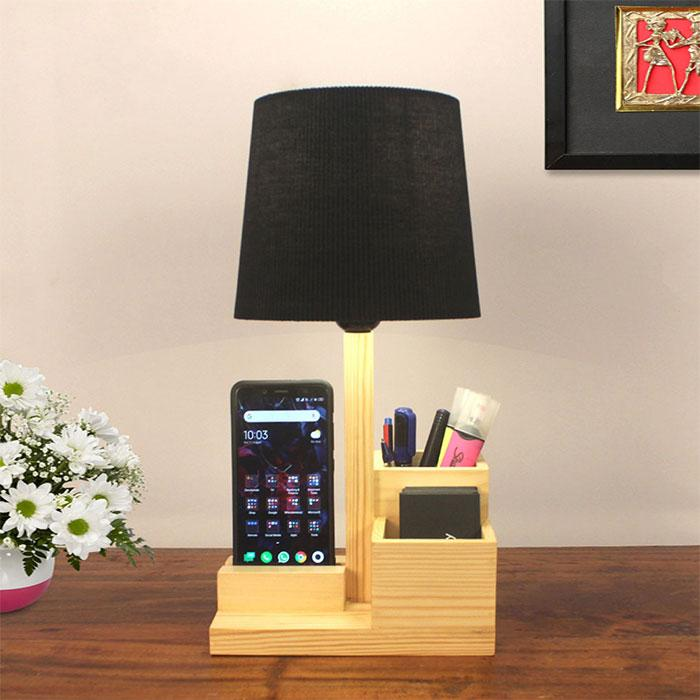 Solid Wood Classic Black Fabric Lampshade Table Lamp With Desk Organizer