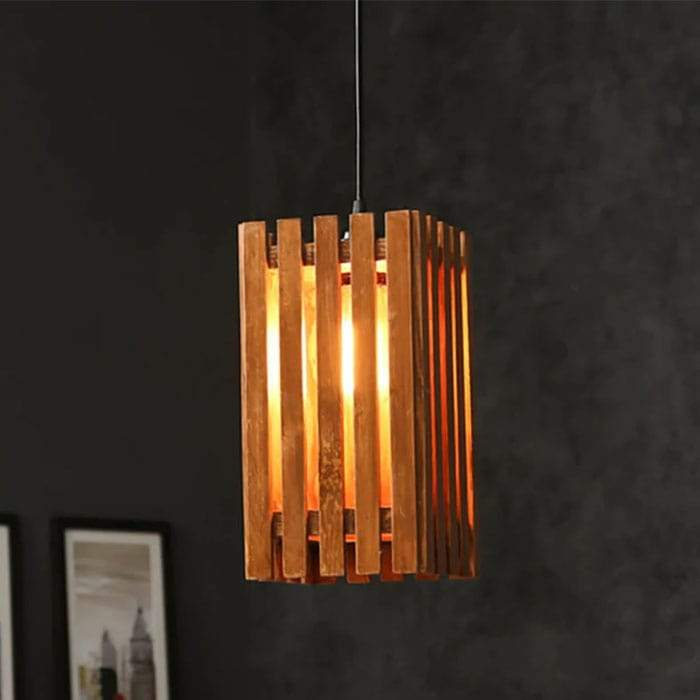 Solid Wood Elegant Single Hanging Lamp With Brown Base
