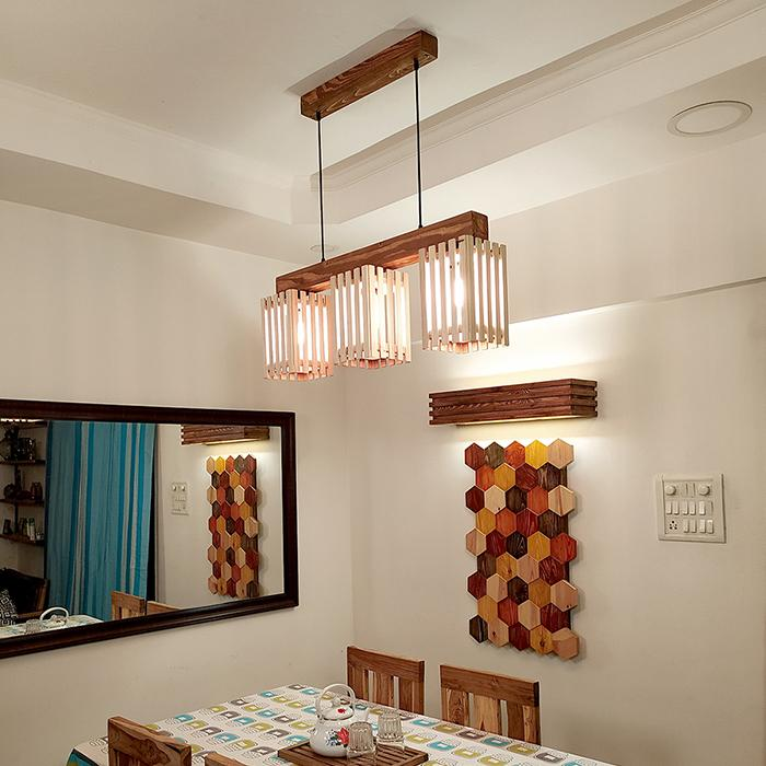 Solid Wood Elegant Series Hanging Light With Beige & Brown Base