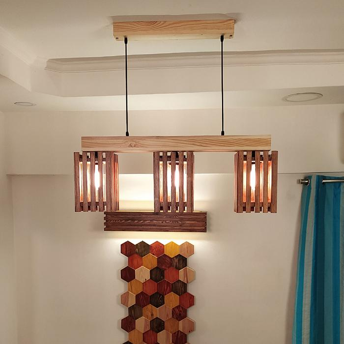 Solid Wood Elegant Series Hanging Light With Brown & Beige Base