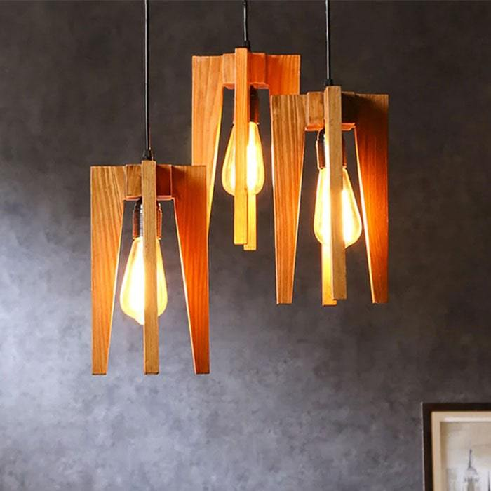 Solid Wood Jet Cluster Hanging Lamp With Brown Base