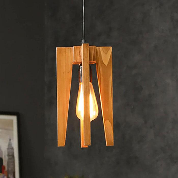 Solid Wood Jet Single Hanging Lamp With Brown Base