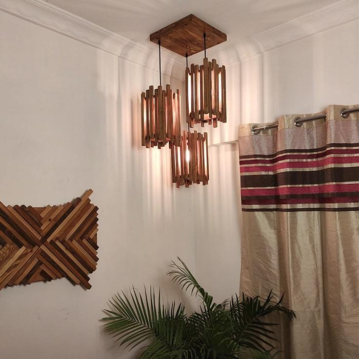 Solid Wood Palisade Cluster Hanging Lamp With Brown Base