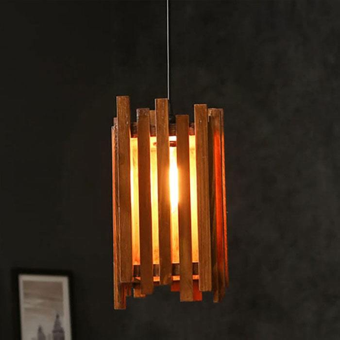Solid Wood Palisade Single Hanging Lamp With Brown Base