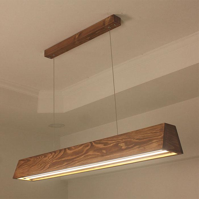 Solid Wood Sirius 36 Led Hanging Lamp With Brown Base