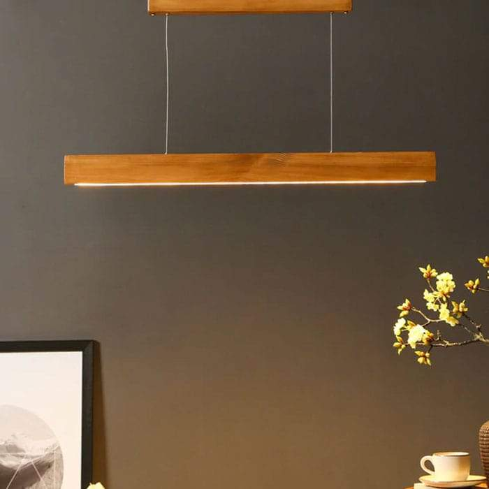 Solid Wood Slimline 36 Led Hanging Lamp With Brown Base