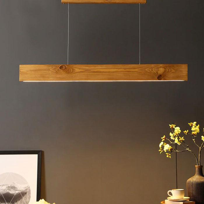 Solid Wood Slimline 48 Led Hanging Lamp With Brown Base