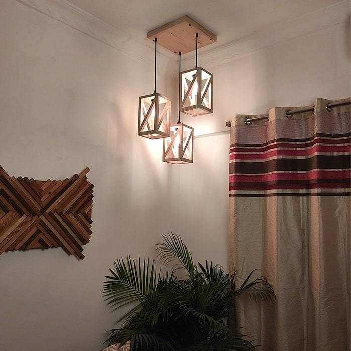Solid Wood Symmetric Beige Cluster Hanging Lamp With Brown Base