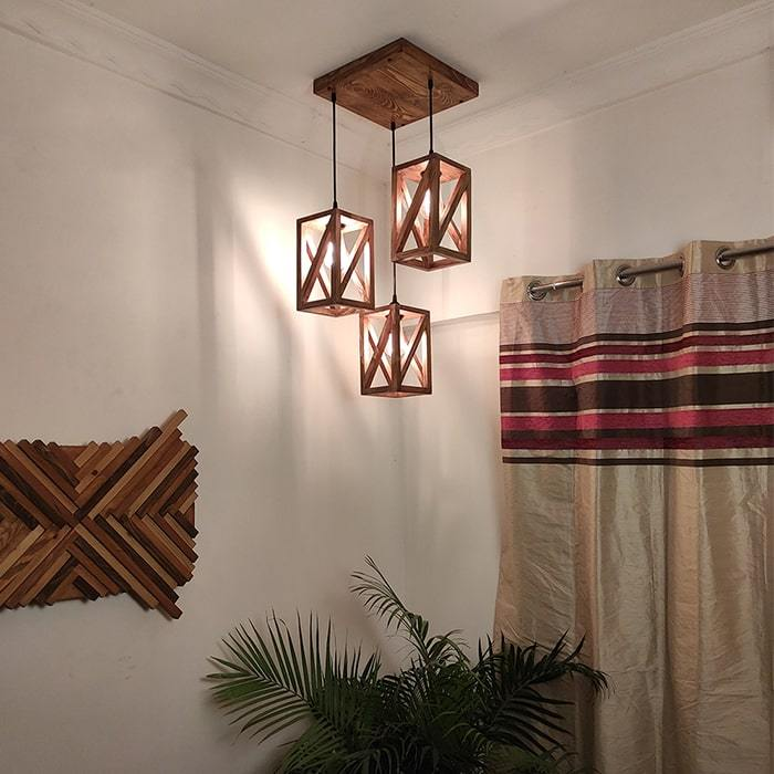 Solid Wood Symmetric Cluster Hanging Lamp With Brown Base