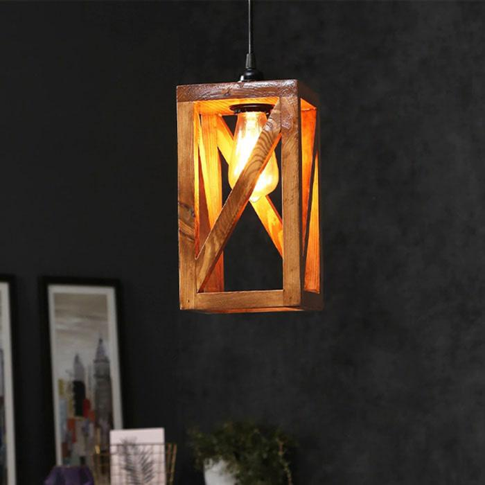 Solid Wood Symmetrical Single Hanging Lamp With Brown Base