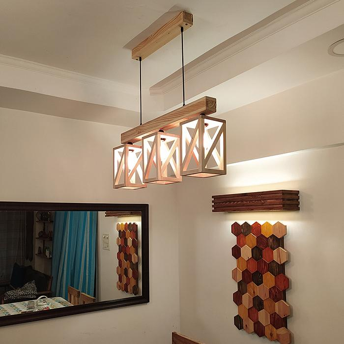 Solid Wood Symmetric Series Hanging Light With Beige Base