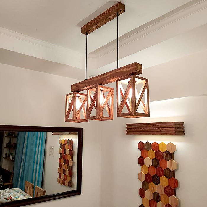 Solid Wood Symmetric Series Hanging Light With Brown Base