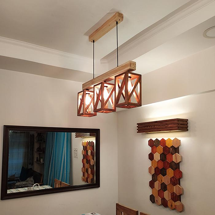 Solid Wood Symmetric Series Hanging Light With Brown & Beige Base
