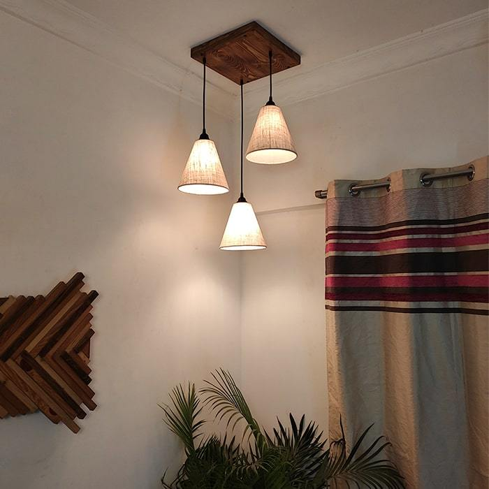 Solid Wood Terzo Beige Fabric Lampshade Cluster Hanging Lamp With Brown Base