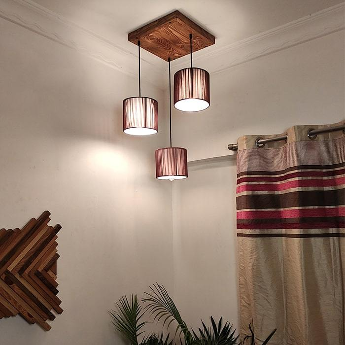 Solid Wood Tiga Brown Fabric Lampshade Cluster Hanging Lamp With Brown Base