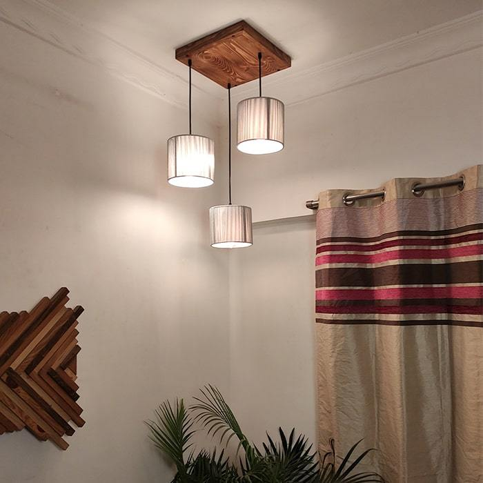 Solid Wood Tiga Silver Fabric Lampshade Cluster Hanging Lamp With Brown Base