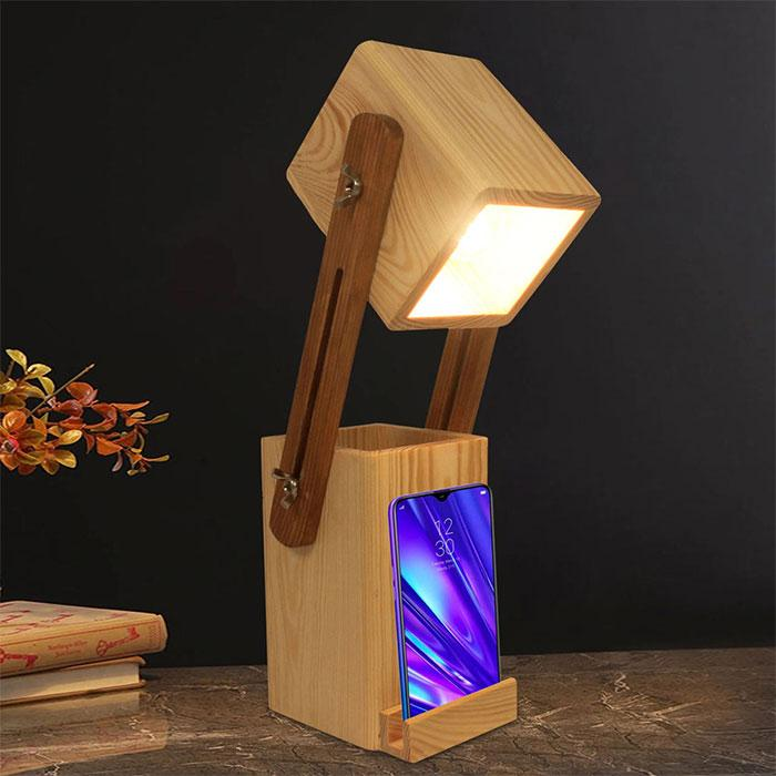 Solid Wood Toby Table Lamp With Desk Organizer