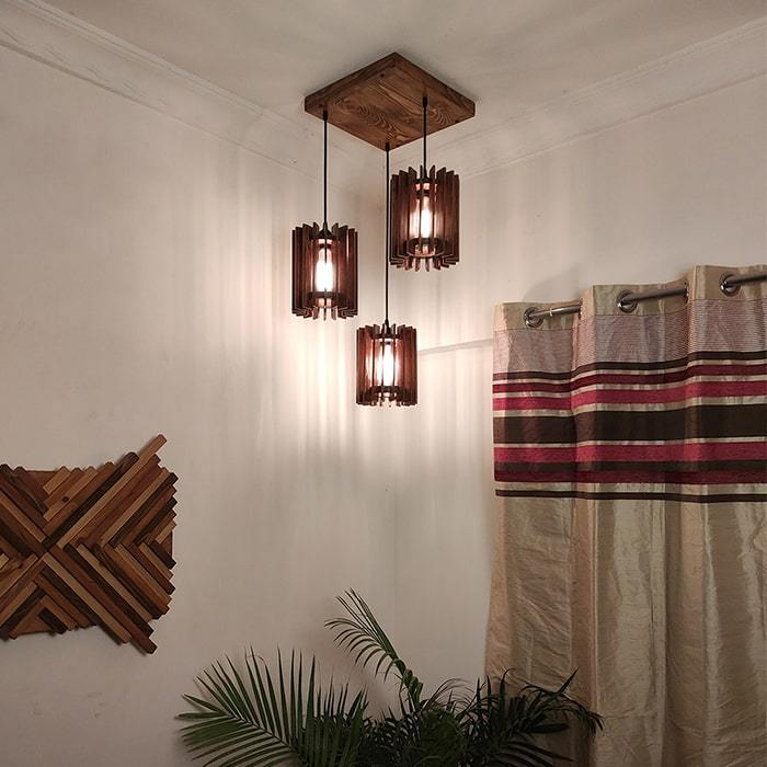 Solid Wood Ventus Cluster Hanging Lamp With Brown Base
