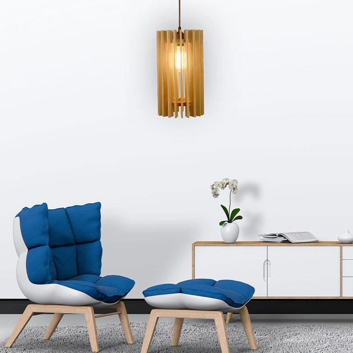 Solid Wood Ventus Single Hanging Lamp With Beige Base