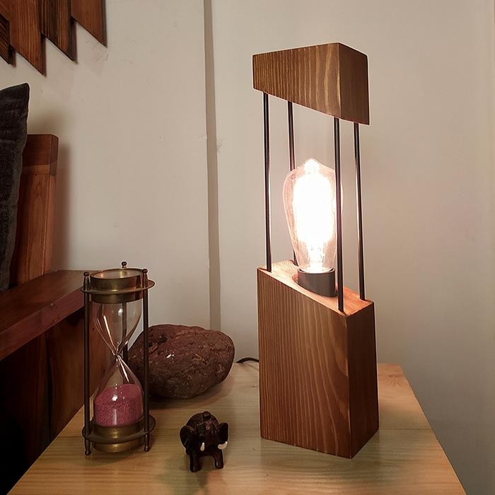 Solid Wood Diagon Table Lamp With Brown Base