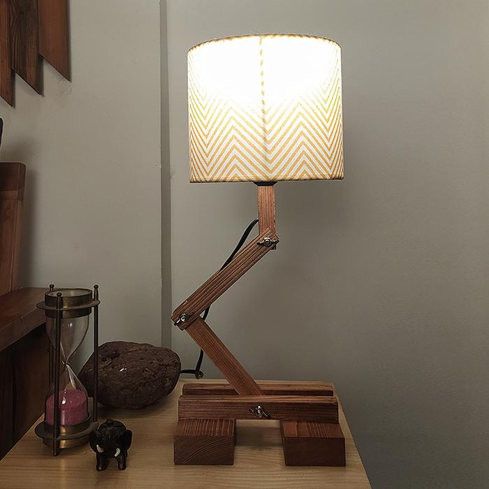 Solid Wood Flex Yellow Printed Fabric Lampshade Table Lamp With Brown Base