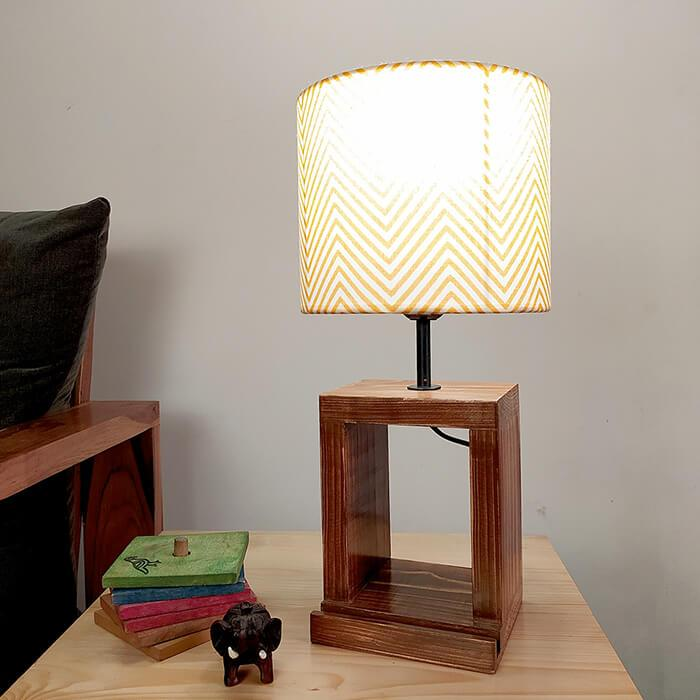 Solid Wood Moby Yellow Printed Fabric Lampshade Table Lamp With Brown Base