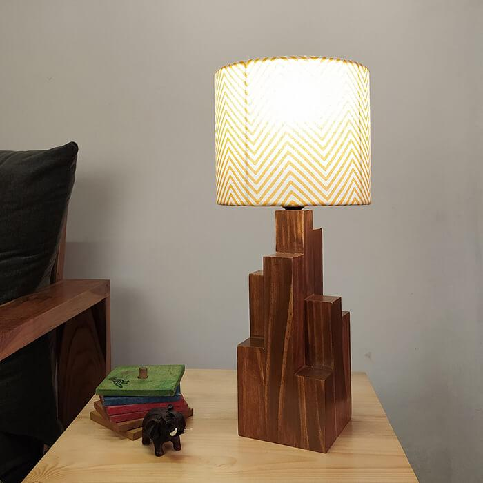 Solid Wood Skyline Yellow Printed Fabric Lampshade Table Lamp With Brown Base