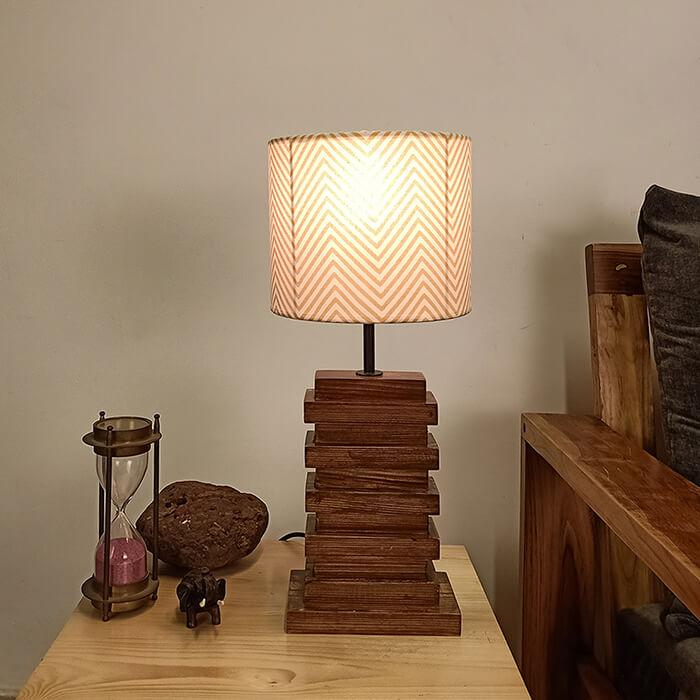 Solid Wood Truffle Yellow Printed Fabric Shade Table Lamp With Brown Base